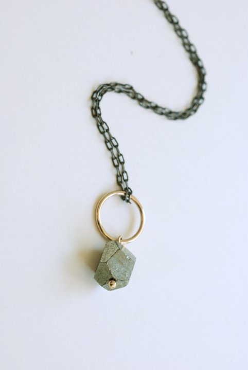 Pyrite Drop Necklace - Oxidized Silver - New Length Available!