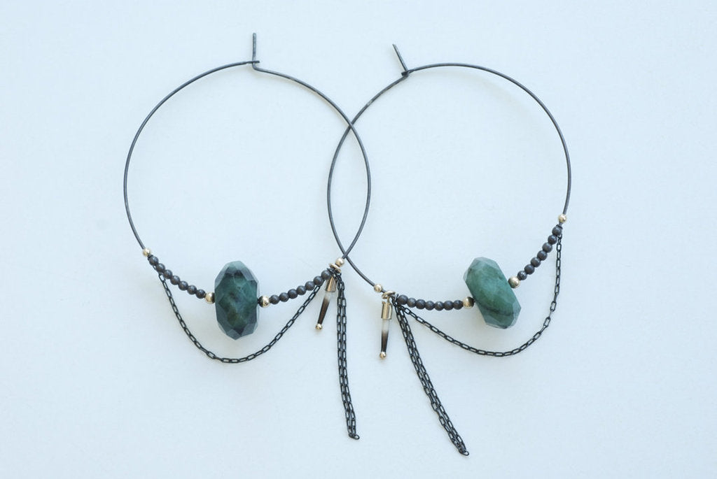 Raw Emerald and Chain Hoops