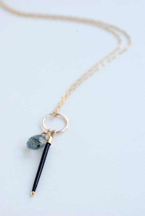 Single Quill and Stone Necklace