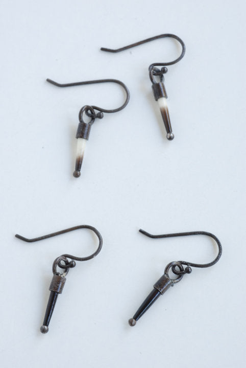 Baby Quill Earrings - Oxidized Silver