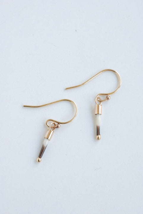 Baby Quill Earrings - Gold - Natural
