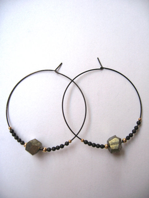 Beaded Pyrite Hoops - Oxidized Sterling Silver