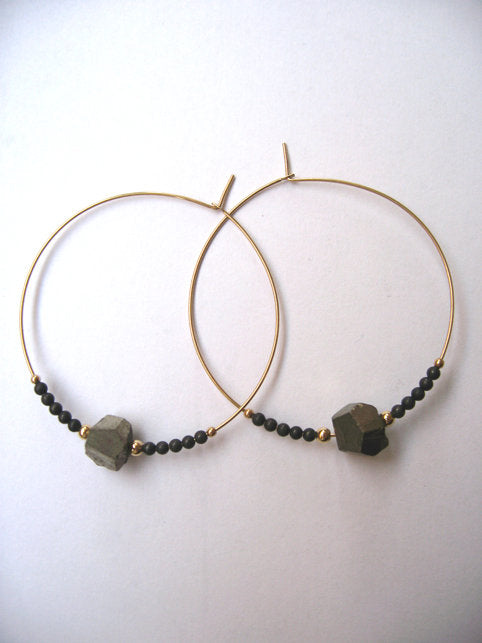 Beaded Pyrite Hoops - Gold