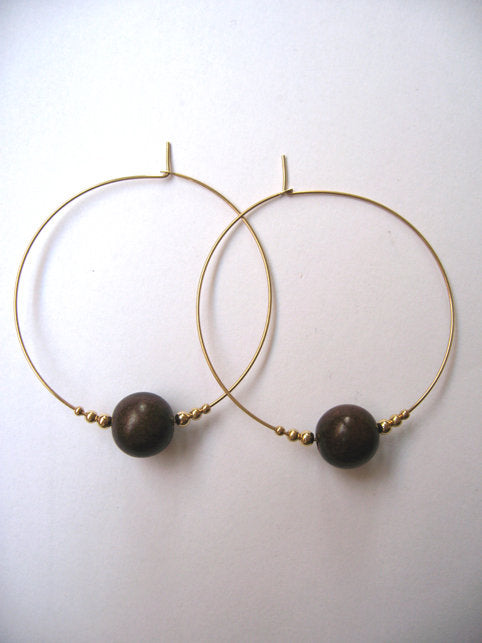 Beaded Ebony Hoops