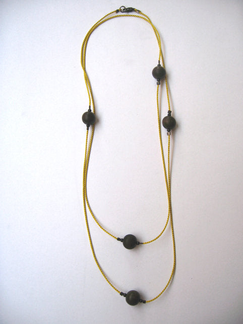 Silk Wood Bead Necklace