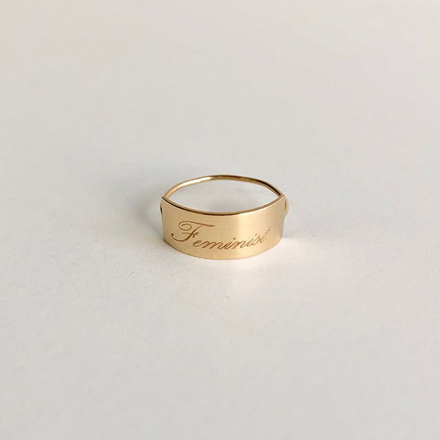 Feminist Long Shield Ring