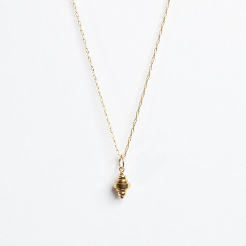 Aztec Drop Necklace- Brass