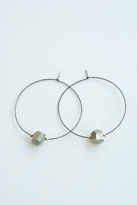 Pyrite Hoop - Oxidized Sterling Silver