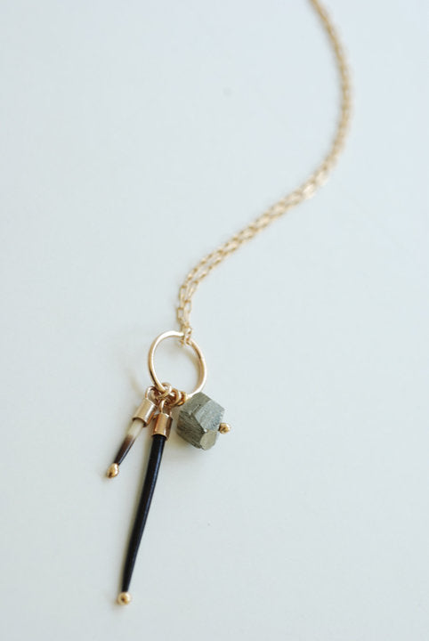 Pyrite and Quill Charm Necklace