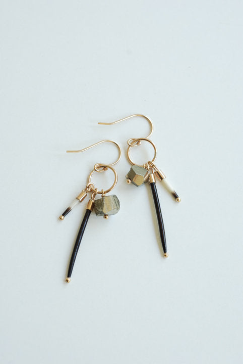 Pyrite and Quill Charm Earrings