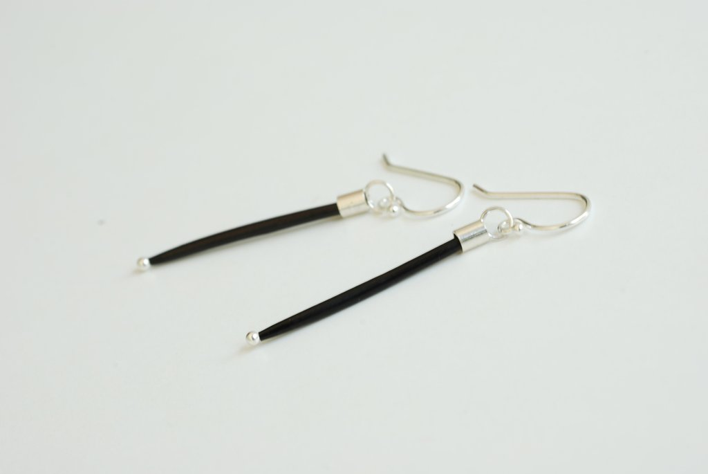 Single Quill Earrings - Black - Sterling Silver