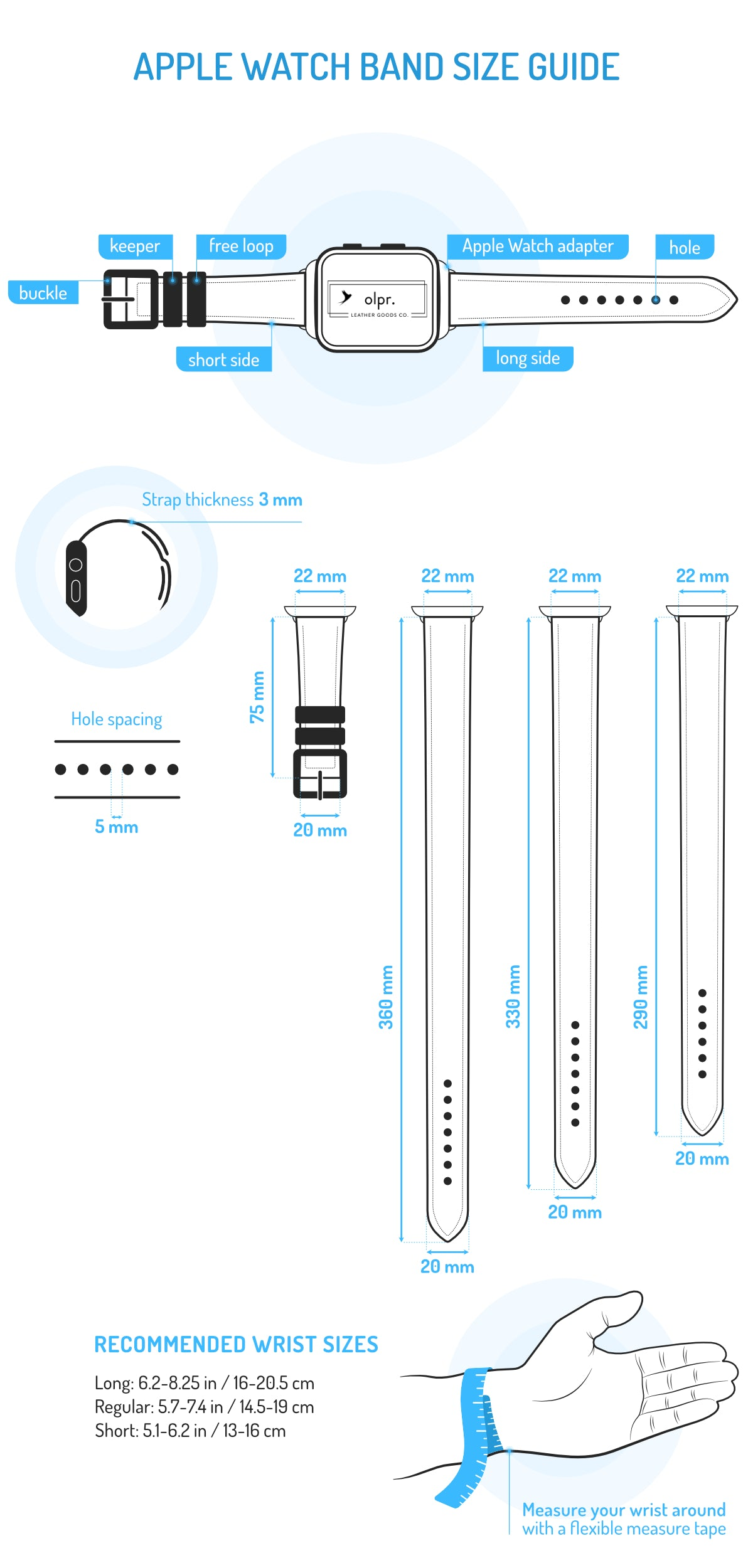 apple watch band size chart