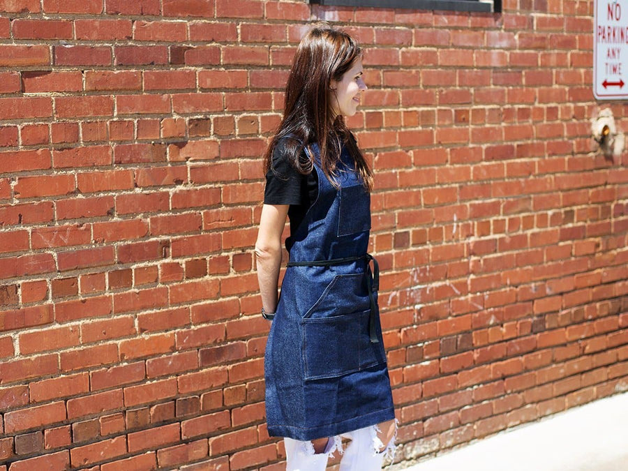 Blue Jean Apron with Pockets - Work & Cooking - olpr.