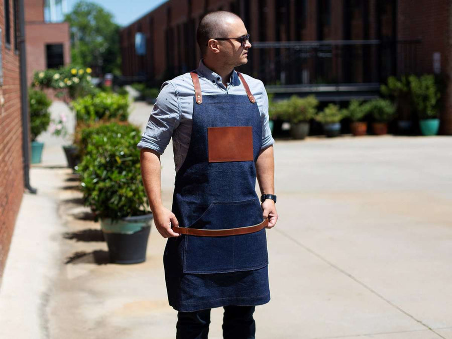 Jean bib apron with leather image