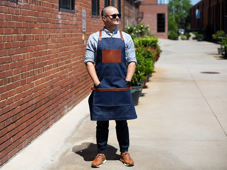 full-lenght jean apron leather pocket blue