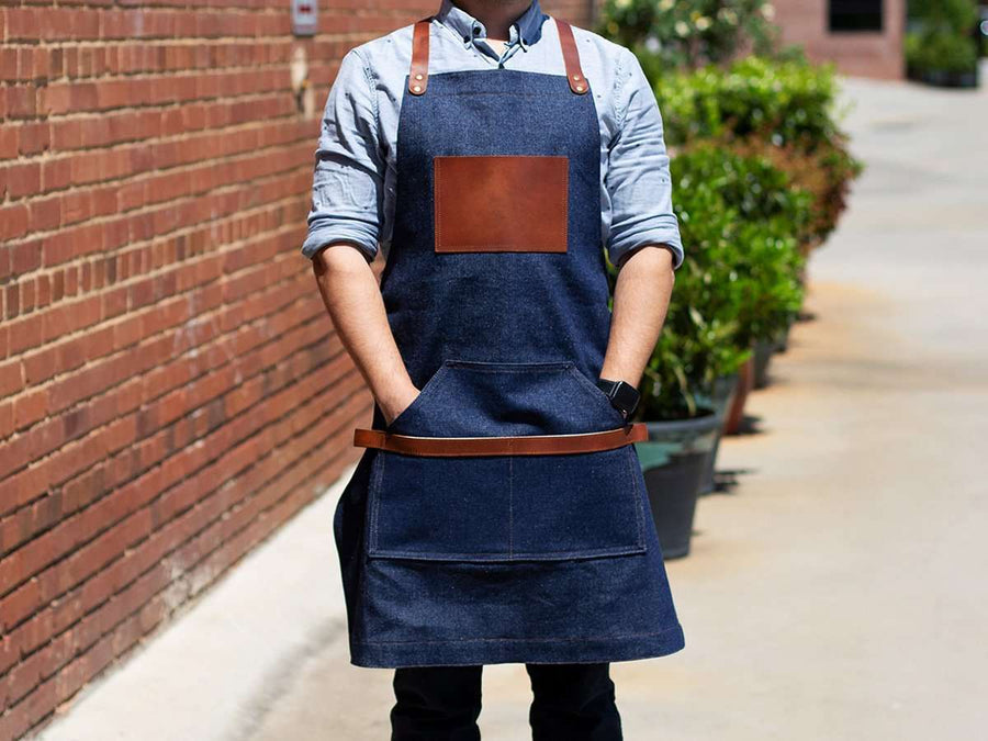 image best bib apron with leather for your shop or cafe