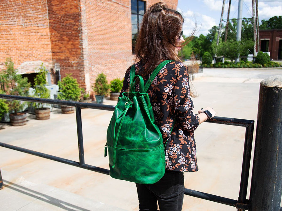 Womens Leather Backpack Izzy Horween - Green - olpr.