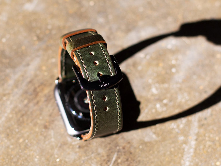 Honcho Leather Apple Watch Band - Green Moss