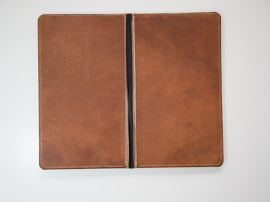 hardcover menu holder in natural horween leather photo