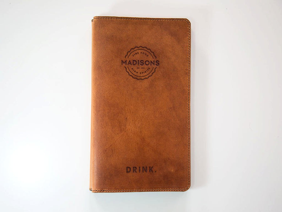 horween natural leather hardcover menu holder image