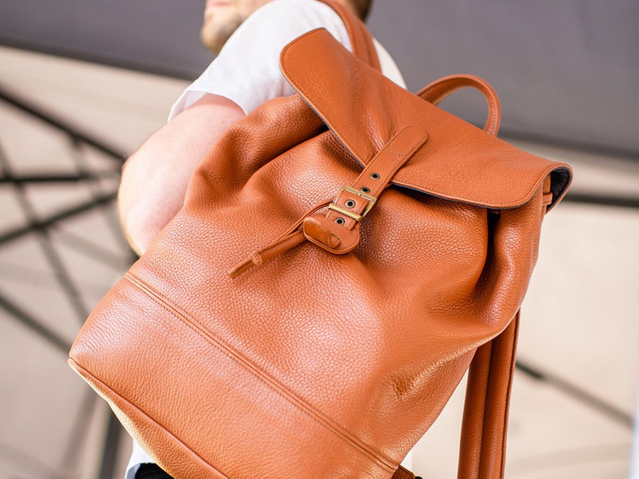 Backpack Charlotte Of Soft Pebble Leather - Tawny
