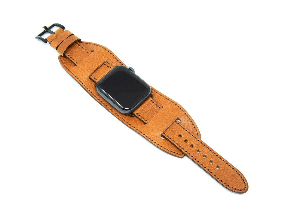 Apple Watch Cuff Band Of Italian Leather - Brown - olpr.