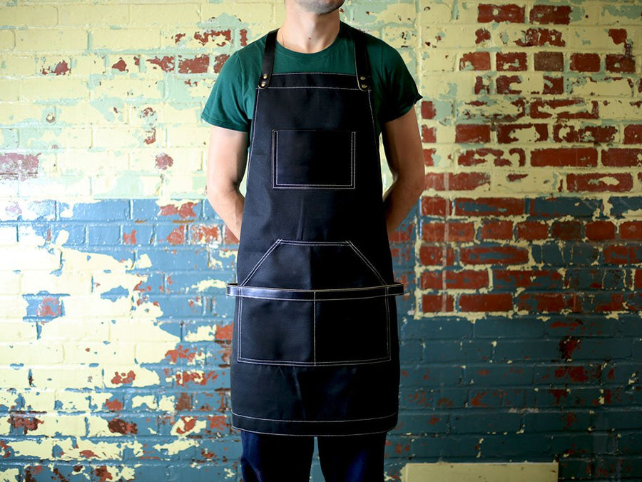 photo of waxed canvas and leather apron - black
