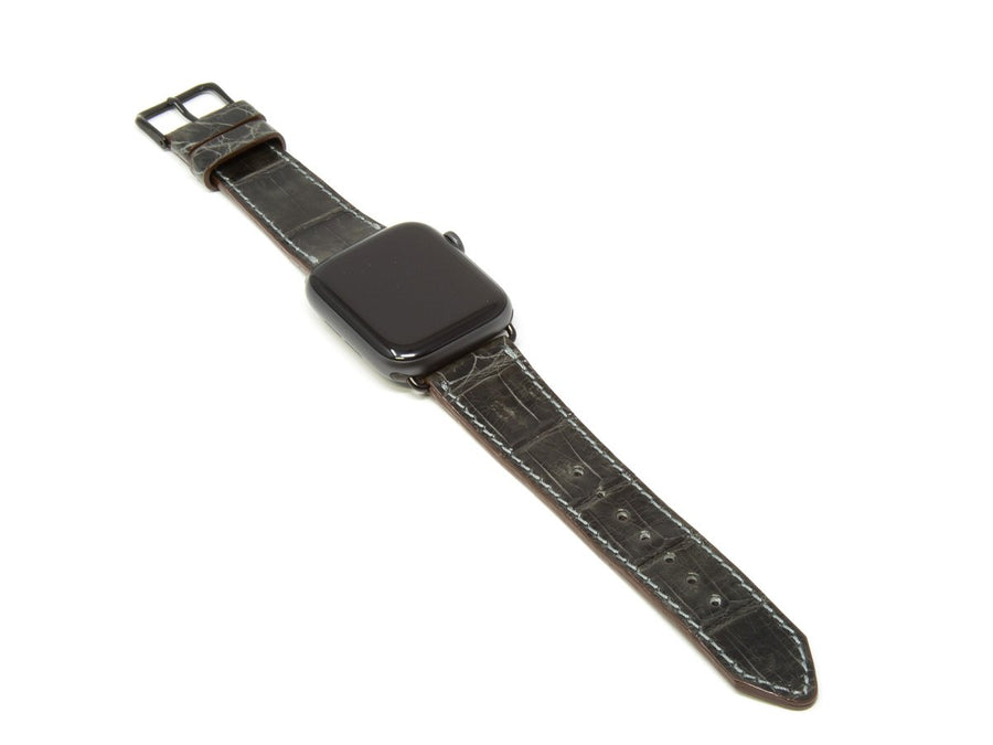 photo of black caiman leather iwatch strap