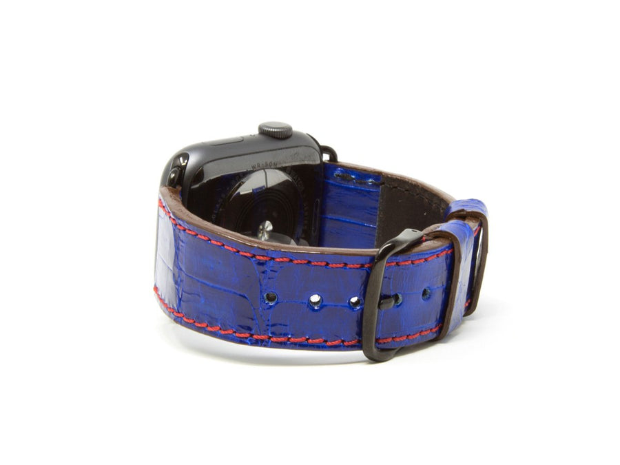 photo of navy caiman leather iwatch strap
