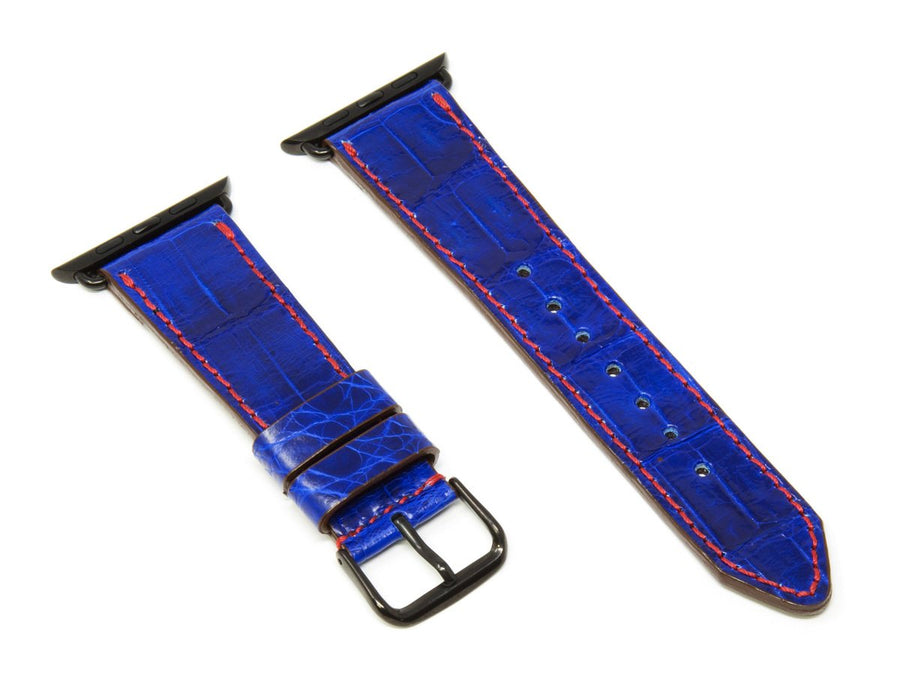 image of navy apple watch strap in caiman leather