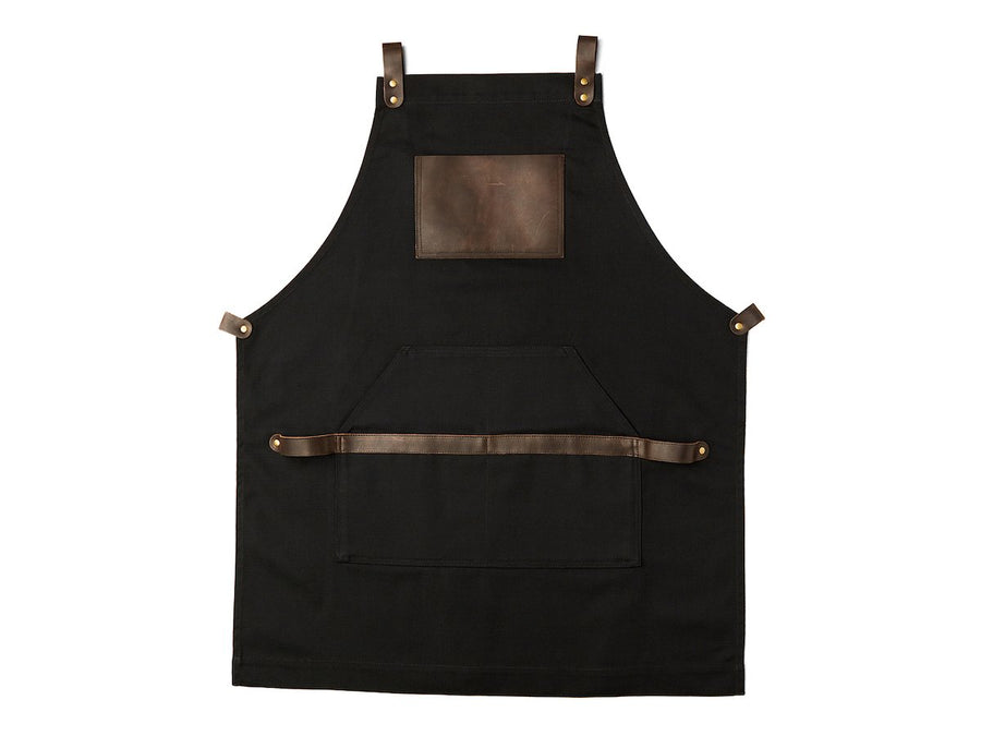 photo of canvas and leather apron - black