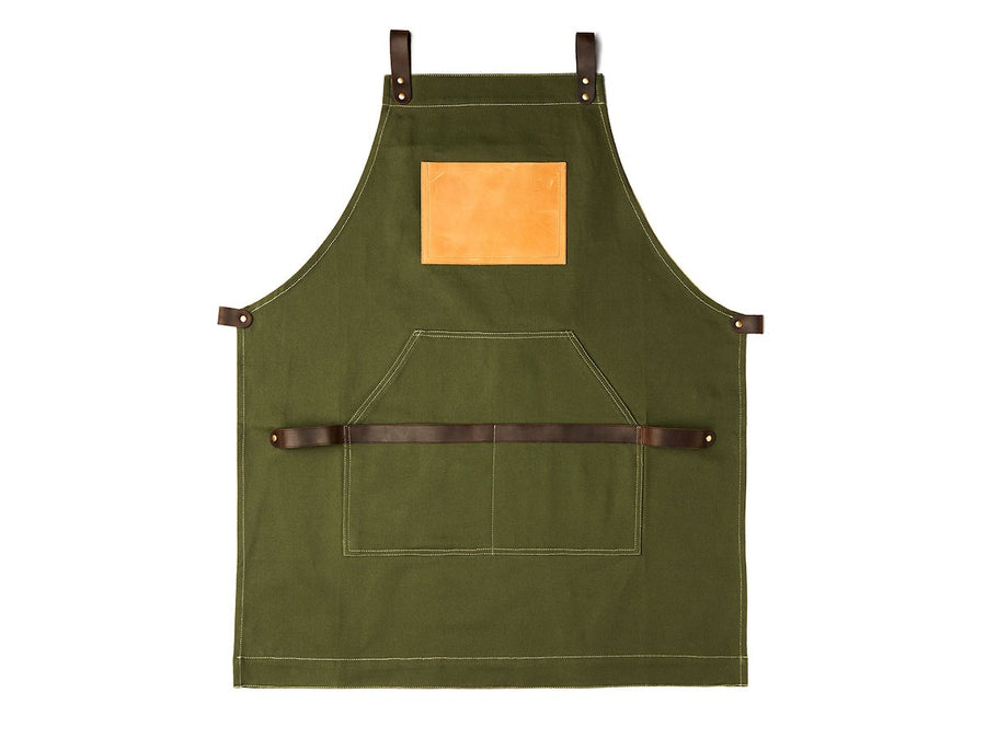Barber apron - green canvas and leather.