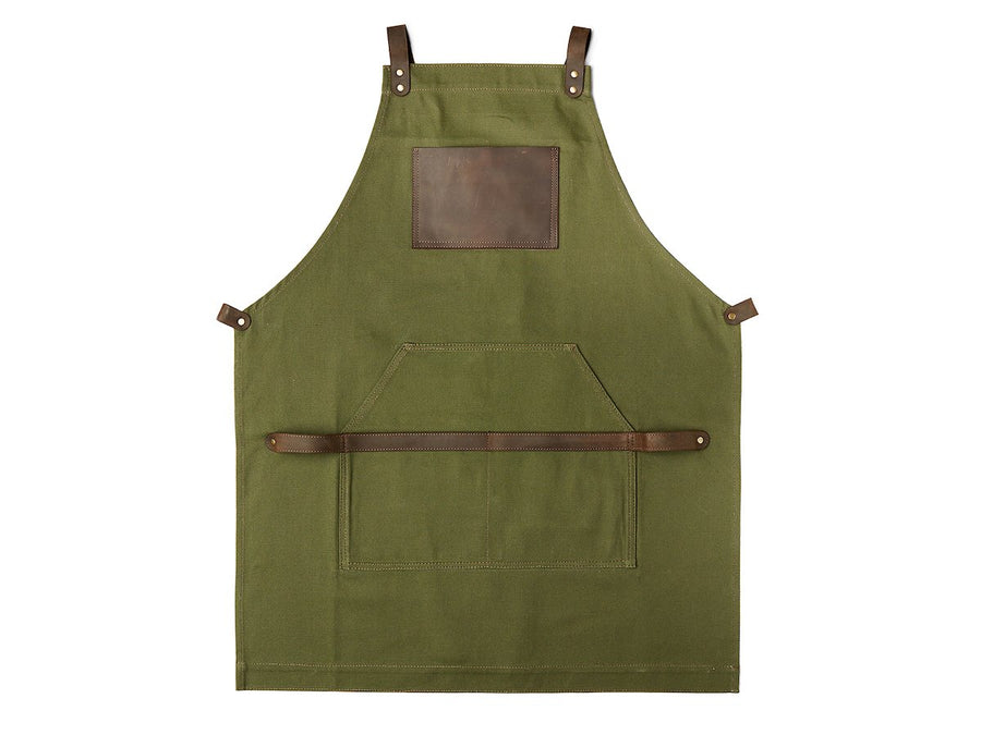 Aprons for men - photo of green canvas and leather product.