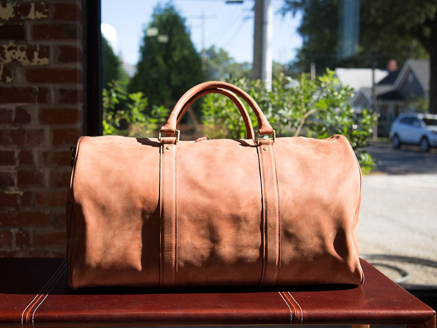 photo of crazy horse leather duffle bag - chocolate