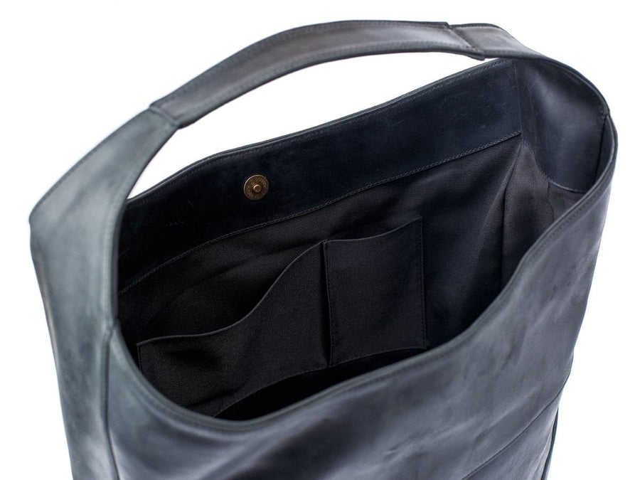 black leather hobo bag crazy horse