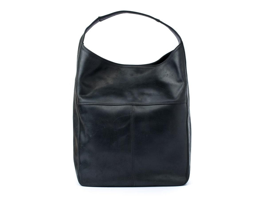 photo of crazy horse leather hobo bag - black