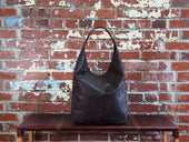 image of brown leather hobo bag