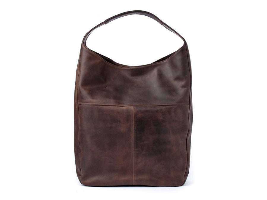 photo of crazy horse leather hobo bag - brown
