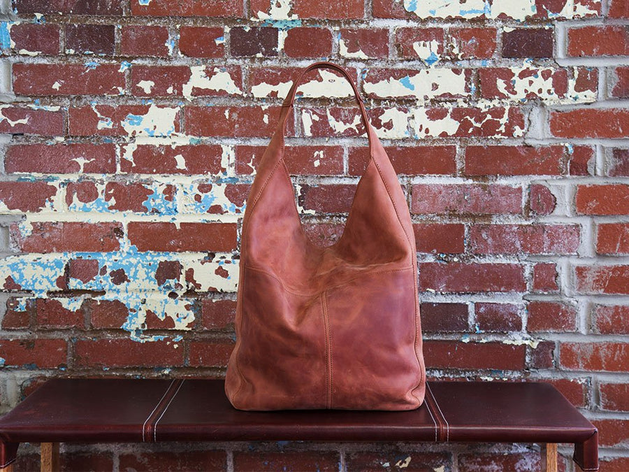 Crazy Horse Leather Hobo Bag - Chocolate - olpr.