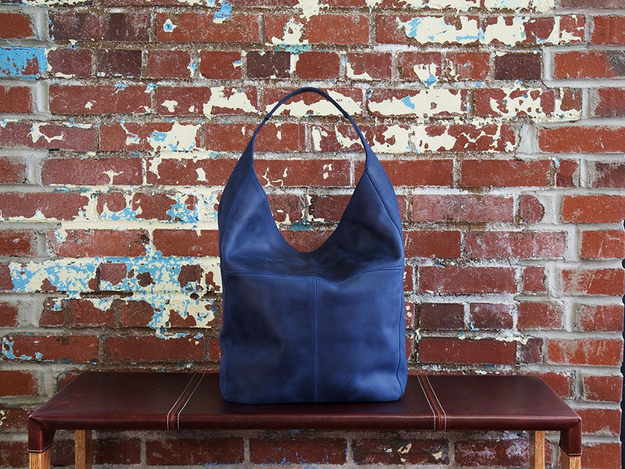 photo of crazy horse leather hobo bag - navy