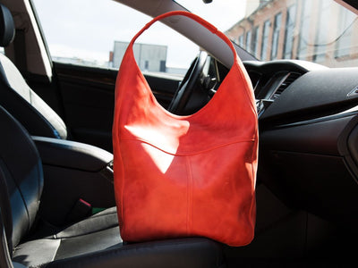 image of red leather hobo bag