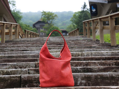 crazy horse leather hobo red