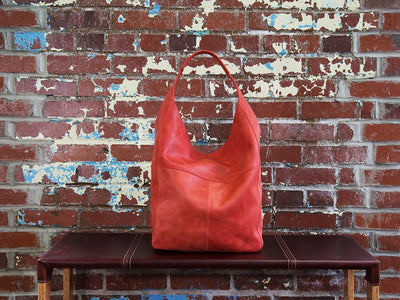 photo of crazy horse leather hobo bag - red