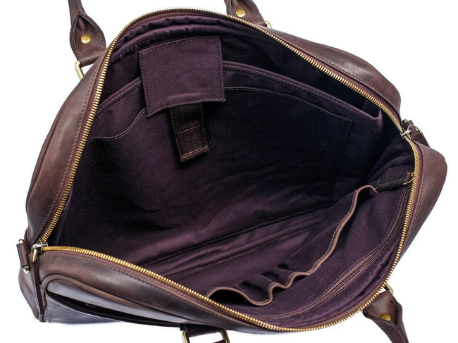 image of brown leather weekday laptop bag