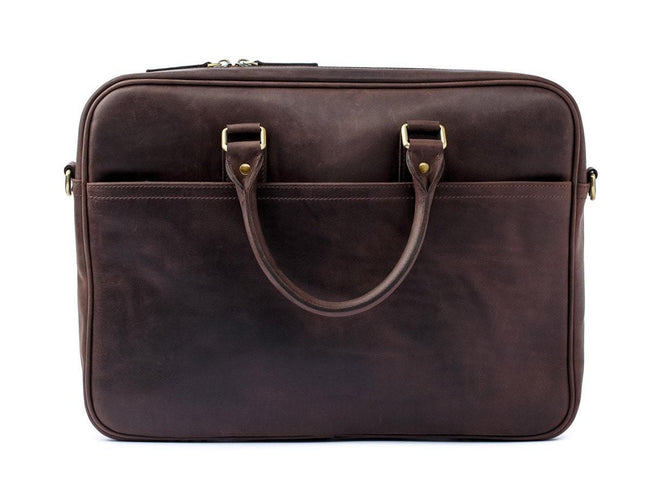 photo of crazy horse leather laptop bag weekday - brown