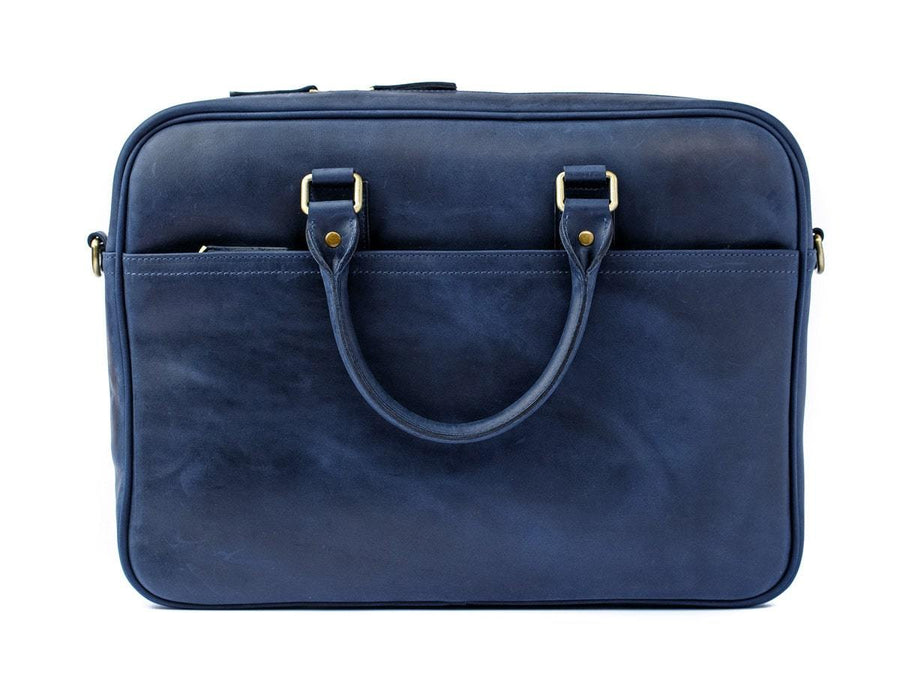 photo of crazy horse leather laptop bag weekday - navy