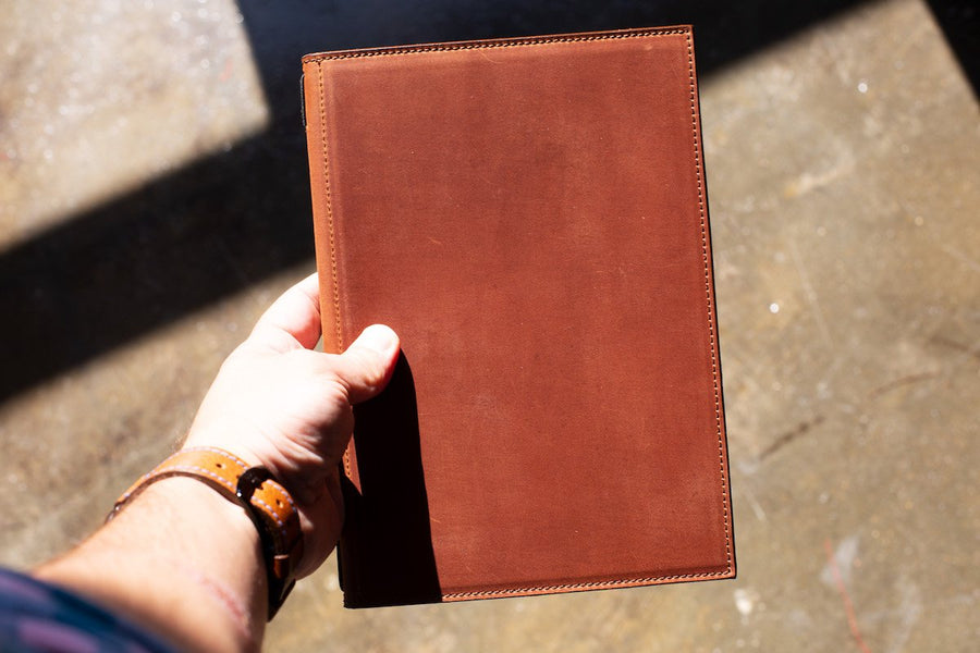 photo of leather menu cover holder