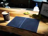 hardcover leather menu of navy color