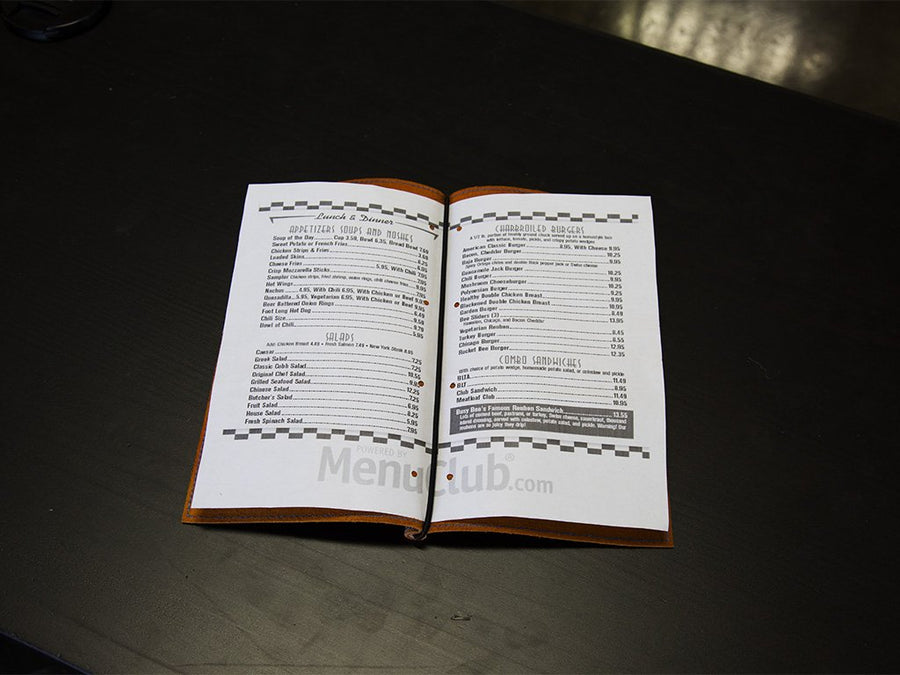 crazy horse soft leather menu holder image