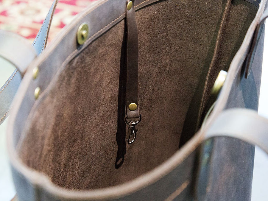 image of brown leather tote bag